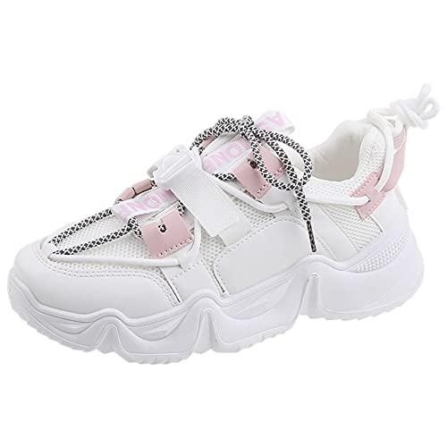 Jamron Mujer Low Top Zapatillas Moda Chunky Sneakers Ligero Malla Zapatos de Deporte Blanco SN07856 EU40