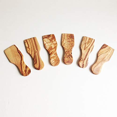 Generisch 6er Set Raclettespachtel, Raklet, Racletteschieber, aus Olivenholz in Handarbeit