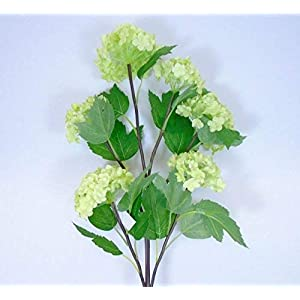 GF Artificial Flowers Snowball Spray 6 Artificial Silk Flowers 25″ Stem Sizes are Approximately 2.5″ – 3.0″ Wide Green Color MG019
