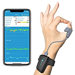 Wellue Wrist Wearable Sleep Monitor – Bluetooth Pulse Meter Health Tracker | Overnight O2 Saturation Level and Heart…