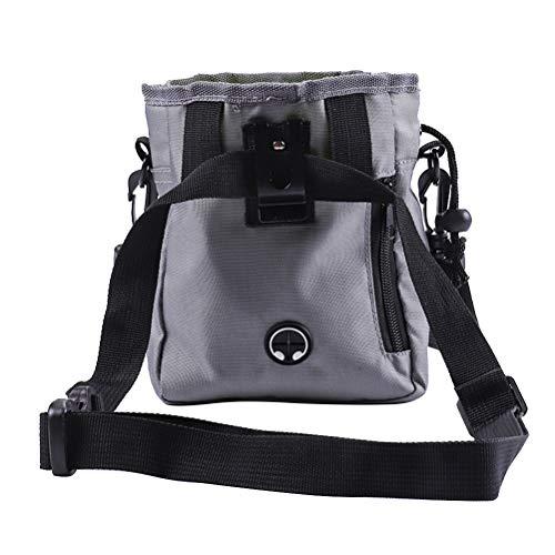 TENDYCOCO Hundetrainingstasche Crossbody Hüfttasche Gürteltasche Snack Food Carrier Futtertasche Schrumpftasche für Training Pet (Grau)