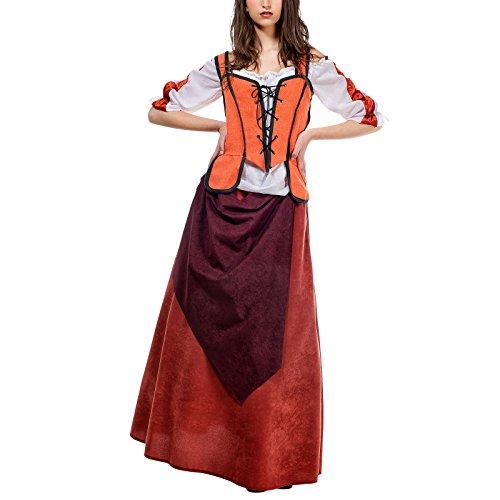 Elbenwald Mittelalter Wirtin Kostüm Damen orange weiß historisches Gewand für Feste u Karneval - L