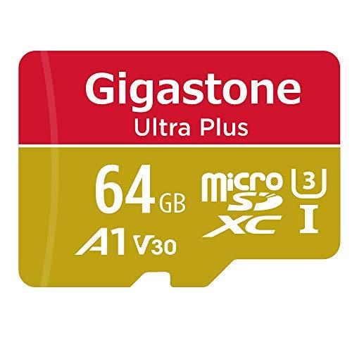 Gigastone 64GB Micro SD Karte, 4K Video Aufnahme, 4K Game Pro, Nintendo Switch kompatibel, L/S bis zu 100/60MB/s, Micro SDXC UHS-I A1 V30 Klasse 10