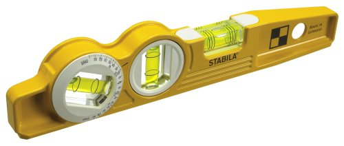 Stabila 25360 Die Cast Magnetic Torpedo with 360-degree vial and V-groove frame -