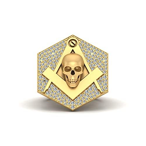 Anillo de compromiso de cráneo masónico de diamantes de 0,50 quilates con cráneo masónico unisex de oro amarillo de 9 quilates