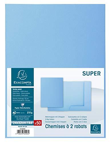 Exacompta - Ref. 332006E - Paquet de 50 Chemises 2 Rabats Super 210 - 24X32cm - Bleu Clair