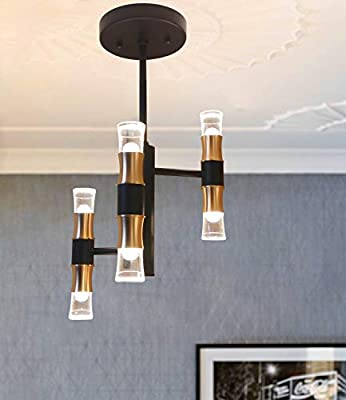 Joyxeon Modern 6 Lights Chandelier, LED Industrial Pendant Light Fixture, 3000K 1500LM Flush Mount Ceiling Light for Living Room, Kitchen, Hallway, Bedroom, Entry - Gold & Black (No Bulbs Needed)