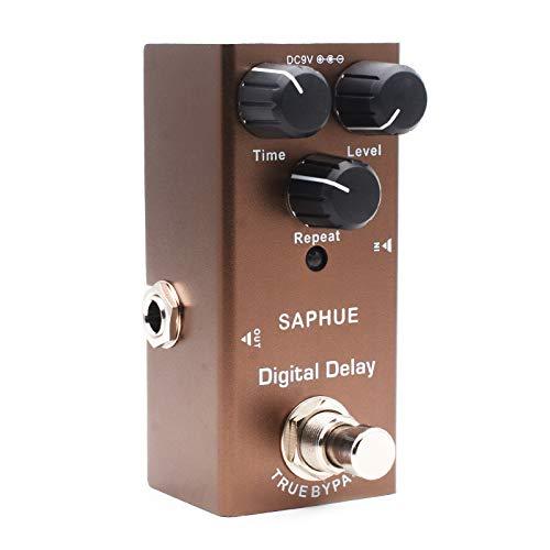 Cobeky Pedal digital de retraso para guitarra eléctrica con efecto de botón de repetición de tiempo, nivel, tipo único, 9 V, True Bypass