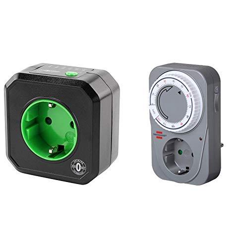 ANSMANN Timer Steckdose AES1 / Schaltbare Steckdose mit Timer für Haushaltsgeräte & Brennenstuhl Countdown Timer MC 120, mechanische Timer-Steckdose (Tages-Zeitschaltuhr) Farbe: grau