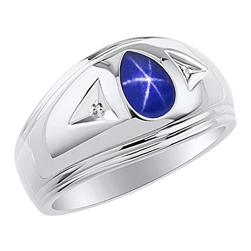 RYLOS Mens Rings Sterling Silver Ring Timeless Pear Shape Tear Drop Cabochone Gemstone & Diamond Rings; Blue Star Sapphire Rings For Men Men's Rings Silver Rings Sizes 8,9,10,11,12,13 Mens Jewelry