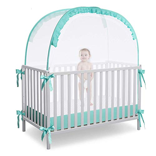 L RUNNZER Crib Pop Up Tent Baby Safety Mesh Cover Mosquito Net Toddler Bed Canopy Netting Cover Protect Baby from Biting and Falling, Emerald, 51 x 51 x 27 Inch