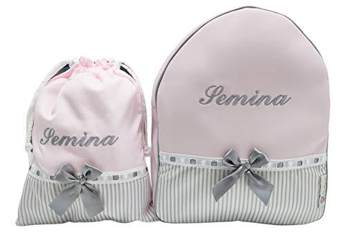 Conjunto guardería o Colegio: Mochila + Bolsa de merienda lenceras Personalizadas con Nombre en plastificado y Tela (Rosa/Gris)