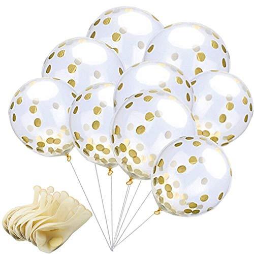 Globos de Confeti Dorado, 12 Pulgadas Globos de Fiesta de Latex Transparentes con Puntos de Confeti de Papel Dorado para Decoraciones de Cumpleaños, Bodas o Fiestas (15 Piezas) (globos de oro)