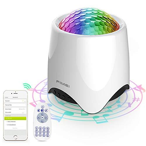 FIMEI Proyector Estrellas, Lámpara de Nocturna Estrellas & Océano 2 in 1, 14 Modos Proyector LED Color Reproductor de Música, con Bluetooth/Temporizador/Remoto para Cumpleaños y Fiesta