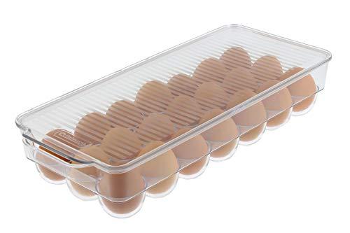 Cuisinart Huevera con tapa y asa, sostiene – Este huevera es un imprescindible ahorro de espacio para tu refrigerador – transparente a través de ella, apilable, libre de BPA – Medidas