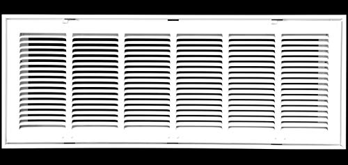 30' X 8 Steel Return Air Filter Grille for 1' Filter - Removable Face/Door - HVAC DUCT COVER - Flat Stamped Face - White [Outer Dimensions: 32.5'w X 10.5'h]