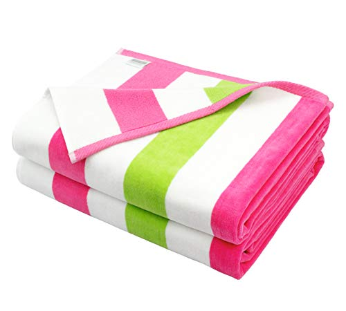 COTTON CRAFT Positano Watermelon Cabana Stripe Set of 2 Luxury Plush Velour Cotton Beach and Pool Towels, 630GSM, 35 inch x 70 inch, Pink Lime and White