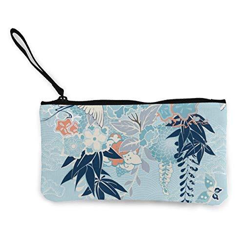 Yuanmeiju Motivo de Kimono con grúa y Flores Lienzo Lindo Monedero Monedero...