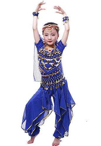 Astage Fille Carnaval Belly Dance Costume Haloween Oriental Cosplay Vêtements Bleu Marine M