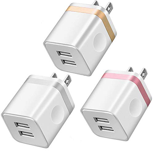 LEEKOTECH USB Wall Charger, [UL Certified] 3-Pack 2.1A/5V USB Plug Dual Port Power Adapter Charging Block Cube Box Compatible with iPhone X/8/7/6 Plus, Samsung, Android Cell Phone, More Phones