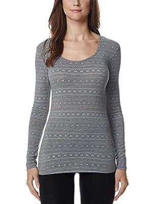 32 Degrees Weatherproof Womens Long Sleeve Scoop Neck,SnowFlake (LG)
