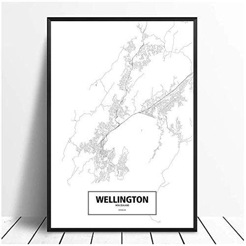 Wellington Nya Zeeland Svartvit världskarta Poster Canvastryck Heminredning Bilder Canvastavlor Wall Art-50x70cm Ingen ram