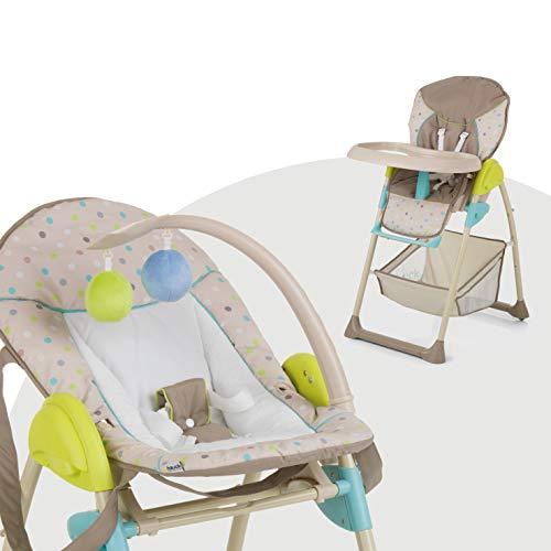 Hauck Sit N Relax - Hamaquita balancin y trona para recién nacidos, respaldo reclinable, chasis ligero, con arco móvile, mesa, ruedas, regulable en altura, plegable - beige multicolor