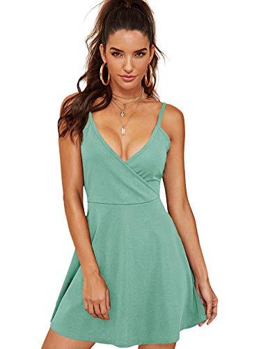 SheIn Women's V Neck Adjustable Spaghetti Straps Sleeveless Sexy Backless Dress Mint Green Medium