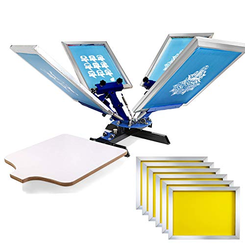 VEVOR Screen Printing Press 4 Color 2 Station and 6 Pieces 18x20 Inch Aluminum Silk Screen Printing Frames with White 160 Count Mesh