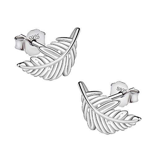 Meixao 925 Sterling Silver Small Earrings Pretty Little Leaf Studs Earrings for women (White)