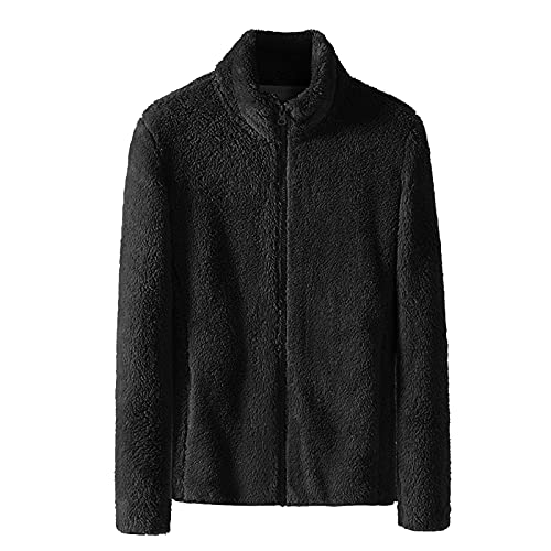 Sudadera con cremallera cálida para mujer Color sólido manga larga chaqueta de cuello alto Wancooy, Negro, 4XL