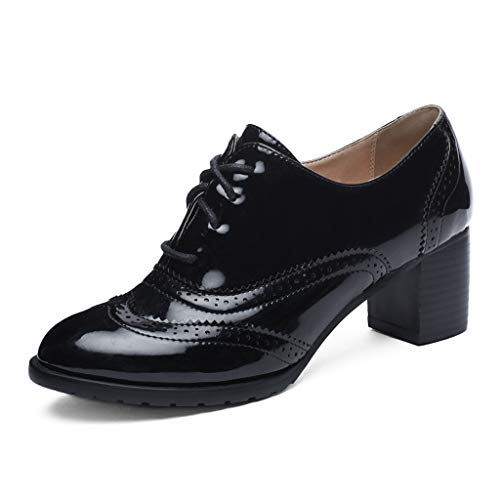 MIOKE Women's Chunky Block Heel Pump Oxfords Wingtip Lace Up Patent Leather Vintage Brogues Dress Shoes Black