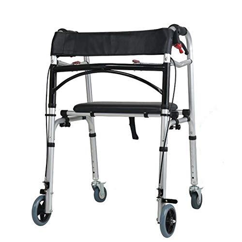 Bueuwe Gehgestell, Faltbarer Rollator mit Sitzauslöser, Gehgestell für Senioren, Rollator für Erwachsene ältere Menschen für drinnen und draußen, verstellbares Leichtgewicht, tragbar