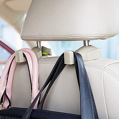 IPELY Universal Car Vehicle Back Seat Headrest Hanger Holder Hook for Bag Purse Cloth Grocery (Dark Beige -Set of 2)
