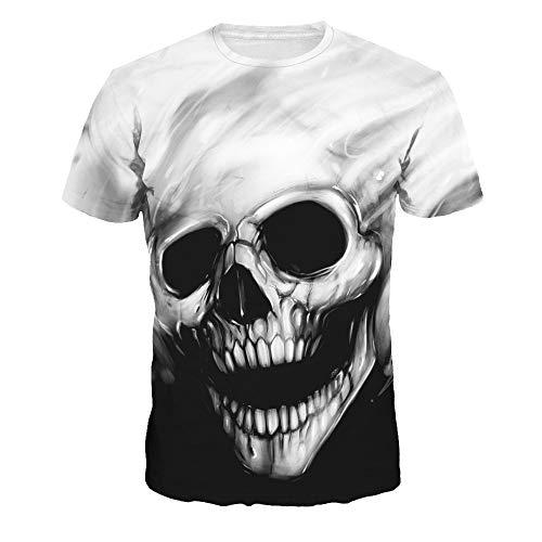 DREAMING-Camiseta Estampada Digital con Estampado Digital De Calavera Camiseta Deportiva De Manga Corta para Hombre Y Mujer XXXL