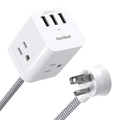 Power Strip with USB - 3 Outlet 3 USB Ports (3.1A), Flat Plug, 5Ft Long Extension Cord, Cube Desktop Charging Station for Nightstand, Dorm, Home, Office