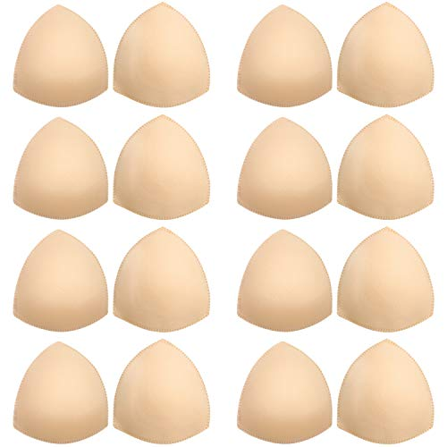 Bra Pads Inserts 8 Pairs, Bra Cups Inserts, Removable Breast Enhancers Inserts for Women (Beige)