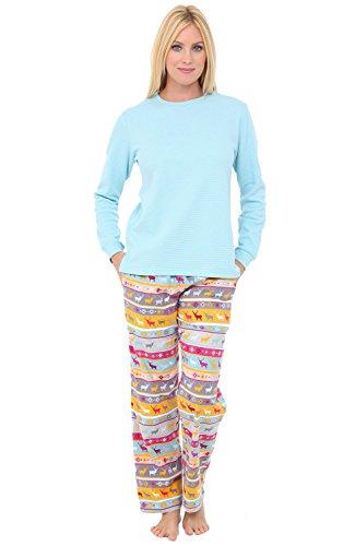 Alexander Del Rossa Womens Flannel Pajamas, Knit Top Cotton Pj Set, 2X Nordic Christmas Reindeers Snowflakes (A0700Q642X)