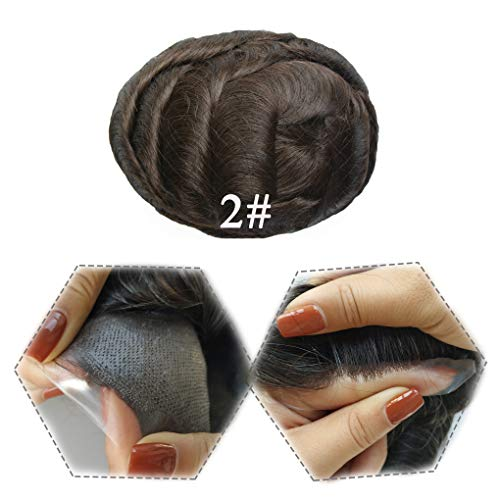 Hairnotion Postiche Homme Invisible 0.04 MM Super Mince Peau Natural Cheveux de remplacement des systèmes Brun foncé 2#