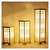 Floor lamp Modern Japanese Tatami Style Square Shape Oak Wood Solid Wooden Floor Lamp E27 LED Standing Lamps for Living Room Hallway Home (Lampshade Color : Small Size)