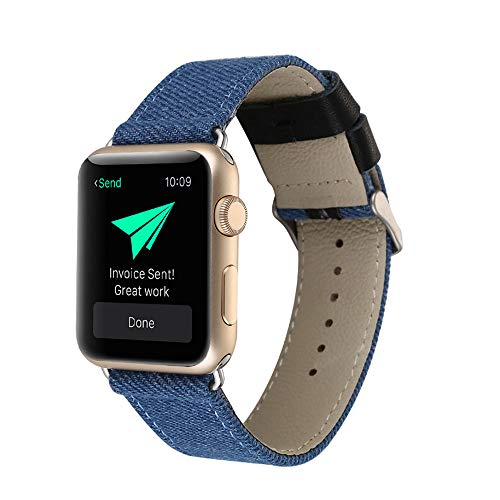 Voor Apple IWATCH 38Mm, 42Mm Riem, Compatibel met IWATCH 1/2/3/4 Blauw Canvas Band