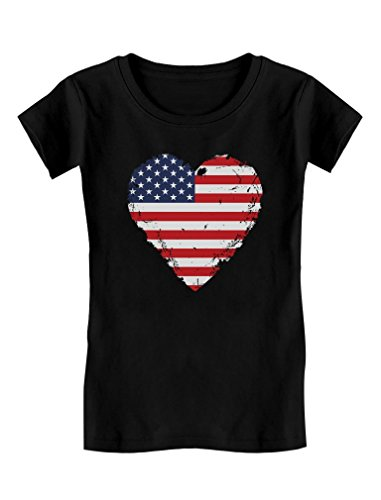 TeeStars - Love USA 4th of July American Heart Flag Girls' Fitted Kids T-Shirt S (5-6) Black