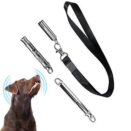 Rmolitty Professional Dog Whistle to Stop Barking, High Pitch Trasonic Adjustable Frequencies for Obedience and Recall Training with Lanyard Strap (2 Pack)