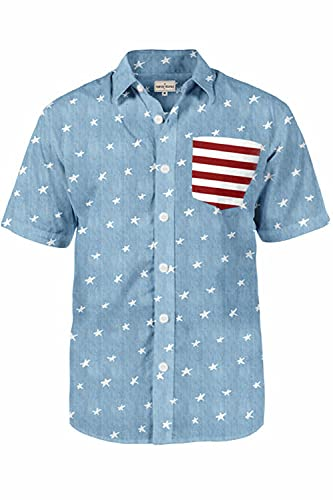 Men's American Pride Hawaiian Shirt - Blue USA Patriotic Aloha Shirt for Guys