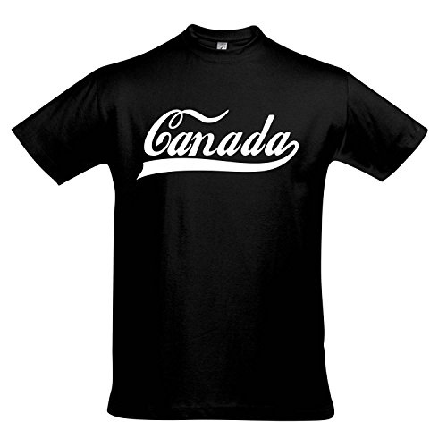 T-Shirt - Canada Oldschool Kanada LÄNDERSHIRT EM/WM Fan Trikot S-XXL, Deep Black - weiß, L
