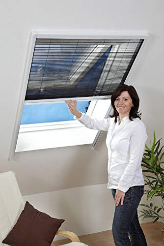 HT Fliegen-Gitter Mücken-Schutz Insektenschutz-Dachfenster-Plissee 110 x 160 cm in Weiß
