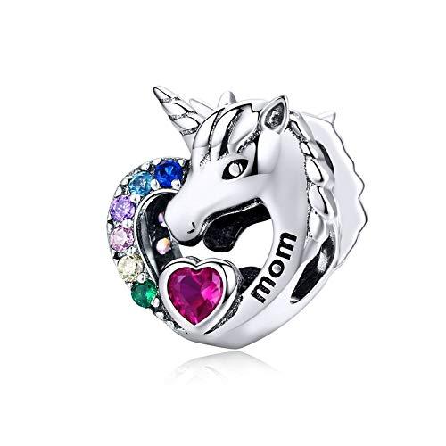 LISHOU DIY S925 Plata De Ley Licorne Unicornio Amor Puro Animal Amor Corazón Mamá Charms Beads Fit Original Pandora Collar De Pulsera con Cuentas DIY Mujer Fabricación De Joyas
