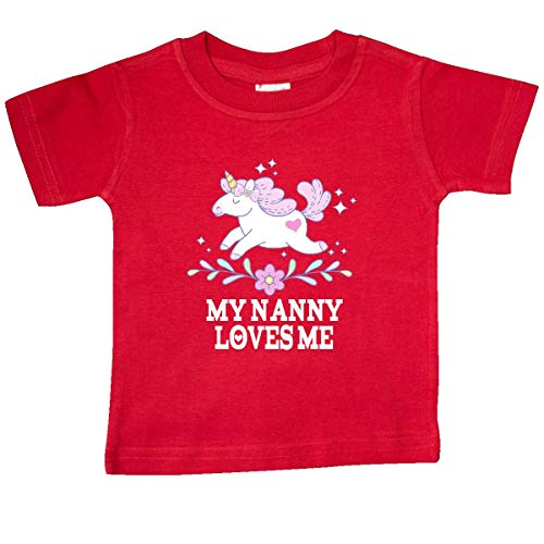 inktastic My Nanny Loves Me Girl Unicorn Baby T-Shirt 12 Months Red