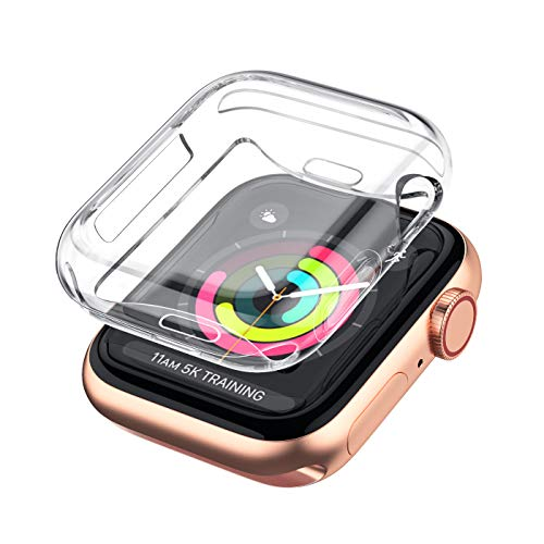 LELONG Case for Apple Watch Series 5 4 3 2 Screen Protector 38mm 42mm 40mm 44mm, Soft TPU All-Around Clear Protective Cover for iWatch Series 5 Series 4 Series 3 Series 2