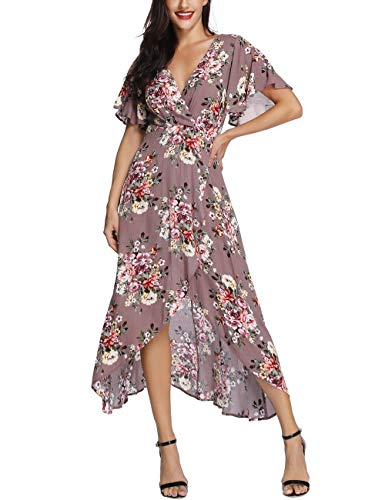Azalosie Wrap Maxi Dress Short Sleeve V Neck Floral Flowy Front Slit High Low Women Summer Beach Party Wedding Dress Light Brown